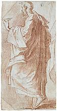 Giovanni Francesco MAZZOLA, dit IL PARMIGIANINO (Parme 1503-Casal Maggiore 1540) Saint Jean Sanguine, lavis de sanguine, rehauts de ...