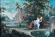 École française du XVIIe siècle Suzanne et les vieillards dans un paysage classique Gouache 26 x 38 cm Papier marouflé sur toile Nom...