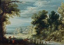 Alexander KEIRINCX (Anvers 1600- Amsterdam 1652) Le gué Panneau de chêne, une planche, non parqueté 24,5 x 35,5 cm