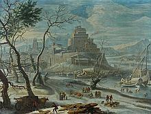 Attribué à Johann Oswald HARMS (1648-1708) VILLAGE FORTIFIé SURPLOMBANT UN FLEUVE GELé Toile 68,5 x 91 cm Restaurations anciennes