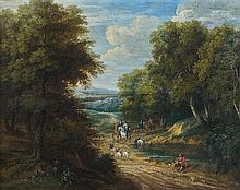 Attribué à Pieter BOUT (1658 -1719) et Adriaen BOUDEWYNS (1644-1711) Scène de chasse à courre Toile 44 x 55,5 cm Restaurations ancie...