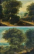 Attribué à Jasper van der LAANEN (1592-1629) Scène de chasse à courre au lièvre Scène de chasse à courre au cerf Paire de cuivres co...