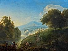 Attribué à Christian Georg SCHÜTZ (1718-1791) Paysage de la vallée du Rhin Toile 29,5 x 40,5 cm
