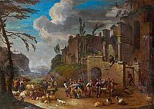 Attribué à Peter Van BREDAEL (1629-1719) Vue fantaisiste du forum romain animé de paysans Toile 80,5 x 113 cm Restaurations ancienne...