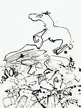 Jean Dubuffet (1901-1985)RTerrain au cheval I, 1952R ndia ink on paperRSigned and dated 52 lower rightR11 3/4 x 8 7/8 in.RR