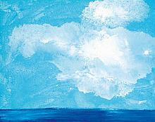 Miquel Barceló (né en 1957).Nuage sur la mer, 2002. Oil on canvas.Signed, dated and titled on the reverse.73 x 92 cm - 28 3/4 x 36 1/4