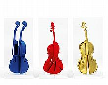 Arman (1928-2005)RHommage à Yves Klein, 1992R Pigment, gold leaf and acrylic on violin in Plexiglas case, in three partsREach inc