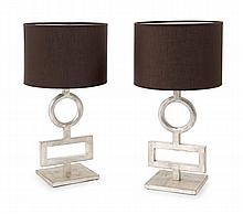 ÉLIZABETH GAROUSTE (Née en 1949) & EN ATTENDANT LES BARBARES (Éditeur). A pair of square base iron with silver patina table lamps with