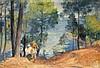ƒPaul Charavel (1877-1961) Bateau sur le fleuve Huile sur toile Signée en bas à droite (3 accidents) 127 x 255cm