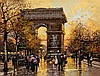 Eugène Galien-Laloue (1854-1941) Vue de l'arc de triomphe Gouache sur papier Signée en bas à gauche 11,5 x 15cm