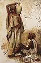 EDWIN LORD WEEKS (1849-1903) PORTEUSE D'EAU WATER CARRIER Huile sur toile signée en bas à gauche. 78 x 50 cm (30.7 x 19,7 in.)
