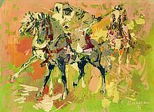 JEAN GASTON MANTEL (1914-1995) FANTASIA VERTE FANTASIA IN GREEN Huile sur métal, signé et daté (19) 71 en bas à droite