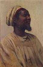 FRANZ XAVIER KOSLER (1864-1905) PORTRAIT DE NUBIEN PORTRAIT OF A NUBIAN MAN Huile sur toile, signée en bas à gauche. 60 x 40cm (23 5...