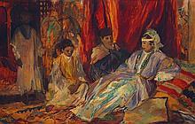 ÉDY-LEGRAND (1892-1970) LA VISITE THE VISIT Huile sur papier marouflé sur panneau, signé situé