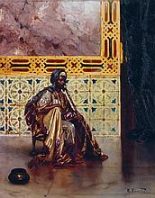 RUDOLF ERNST (1854-1932) LE FUMEUR DE CHIBOUK ORIENTAL SMOKER Huile sur panneau, signé en bas à droite. 40,2 x 32cm (15 13/16 x 12 5...