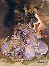 JEAN GASTON MANTEL (1914-1995) MAROCAINES EN ROSE GIRLS FROM MOROCCO Aquarelle et gouache sur papier, signé et daté (19) 81 en bas à...