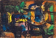 MILOUD LABIED (1939-2008) COMPOSITION COMPOSITION Technique mixte sur papier, signé et daté (19) 66 en bas à gauche. 10,3 x 15,7cm (...