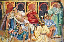 BÉATRICE APPIA-DABIT  (1899- 1998) DÉTENTE FÉMININE à MARRAKECH RELAXATION IN MARRAKECH Huile sur toile signée en bas à droite
