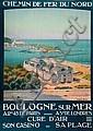 Constant Duval Chemin de fer du Nord Boulogne sur mer, IMP. C Duval 105 x 75, BE, Constant (1877) Duval, Click for value