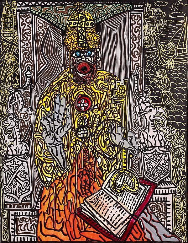 Robert Combas (né en 1957)  Le genre de type qu'on voit sur les icônes, un saint quelque chose!?, 1995 Acrylique sur toile  Datée en...