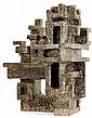 Vassil IVANOFF (1897-1973) Sculpture architecture en grès, formant composition géométrique à multiple déploiement spatial, émaux bei...