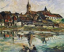 Charles Feola Vue du bord de la Loire Oil on canvas Signed lower right