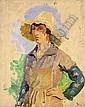 JEAN-FRÉDÉRIC BAZILLE (1841-1870) VENDANGEUSE AU CHAPEAU JAUNE Huile sur carton, signée en bas à droite 27 X 22 CM, Frederic Bazille, Click for value