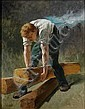 Evariste Vital LUMINAIS (Nantes 1822 - Paris 1896) Ouvrier construisant le chemin de fer de l'Amérique, étude pour la Bourse du Comm...