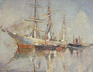 Maurice Blieck (1876-1922) A CONTINENTAL HARBOUR SCENE WITH SHIPPING Signed, oil on canvas, {45.5cm by 57.5cm (18in by 22.75in) See illustration} E1000-1500 *Provenance. With R. Jackson & Sons, 20 Slater Street, Bold Street, Liverpool L1 4BS, stock