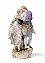 A Meissen Porcelain Figure Group of Lovers, late