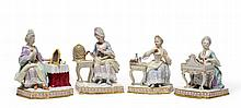 A Set of Four Meissen Porcelain Figures of The