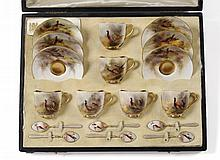 A Set of Six Royal Worcester Porcelain Coffee Cups