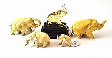A Group of Four Indian Ivory Figures of Elephants,