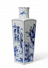 A Chinese Porcelain Square Section Vase, Kangxi,