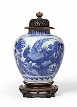 A Chinese Porcelain Ovoid Jar, Kangxi reign mark