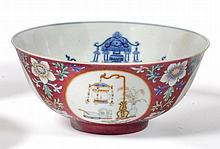 A Chinese Porcelain Ruby Ground Medallion Bowl,