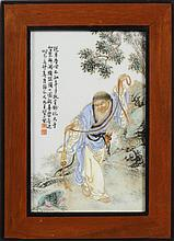 A Chinese Porcelain Plaque, painted in famille
