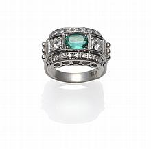 An Art Deco Style Emerald and Diamond Ring, an
