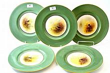 A Set of Five Royal Worcester Porcelain Plates,