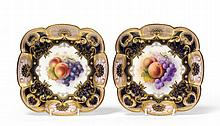 A Pair of Royal Worcester Porcelain Square Dessert