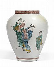 A Kutani Porcelain Jar, Edo period, of baluster