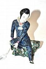 A Chinese Porcelain Figure of a Scholar, late Qing