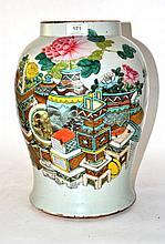 A Chinese Porcelain Vase, 19th century, painted in