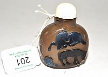 A Chinese Agate ''Horse and Monkey'' Snuff Bottle,