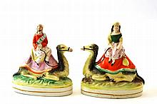 A Pair of Staffordshire Pottery Figures of Sir