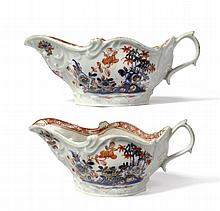 A Pair of Chaffers Liverpool Porcelain Sauceboats,