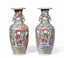 A Pair of Cantonese Porcelain Vases, mid 19th