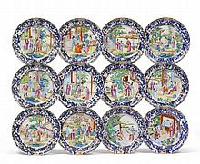 A Set of Twelve Chinese Porcelain Plates, early