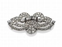 An Art Deco Diamond Double Clip Brooch, set with