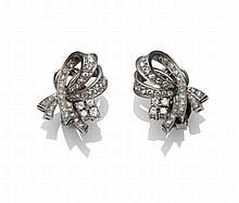 A Pair of Art Deco Style Diamond Earrings, of